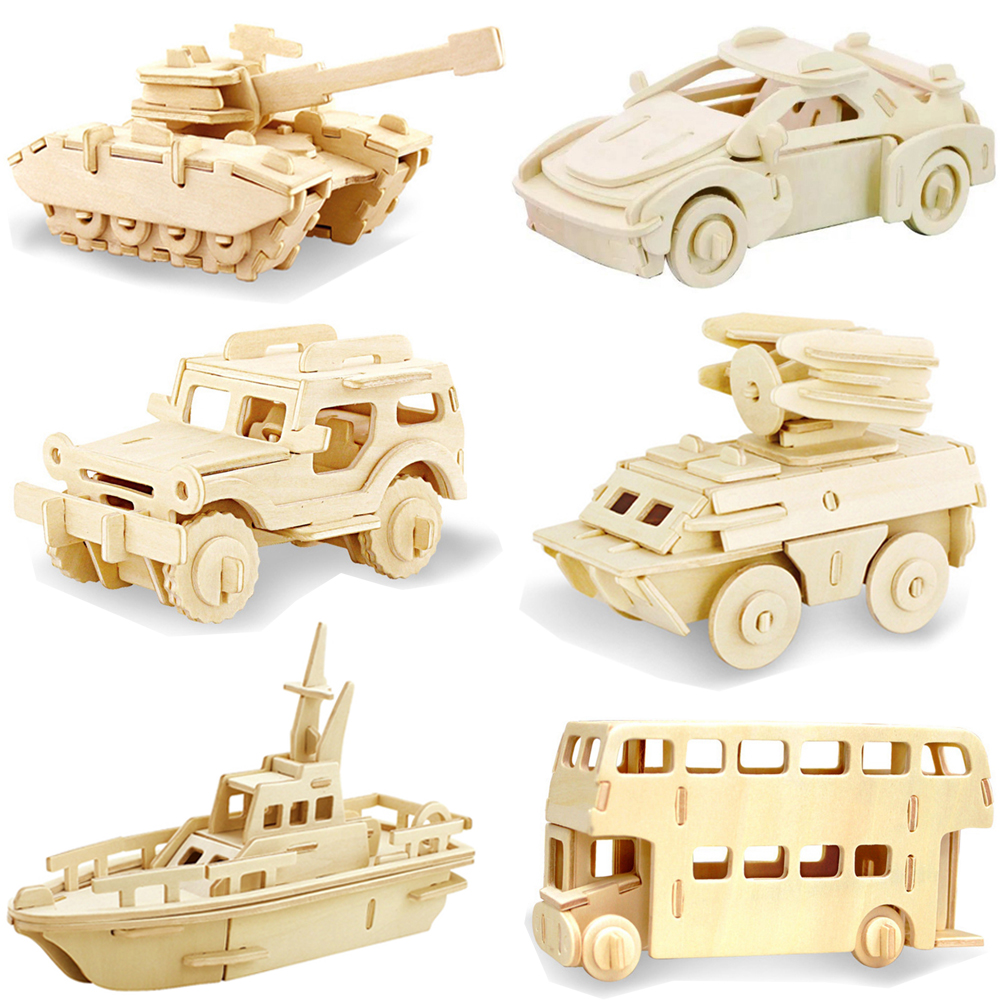 1PC New DIY 3D Wooden Car Truck Puzzle Game Children Kids Natural Color Toy Model Building Kits Educational Hobbies Gift