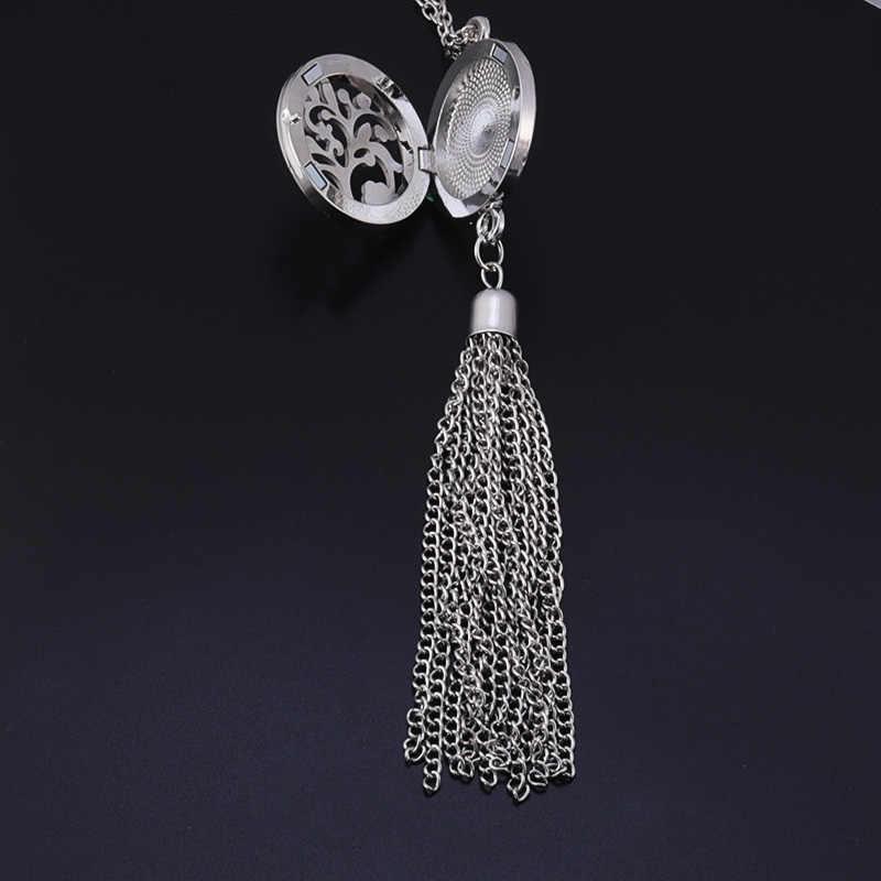 Nowe małe drzewo żelazko ze stali nierdzewnej tassel aromaterapia pudełko na naszyjnik damska biżuteria prezent 60 cm naszyjnik + 2 mat SC810