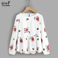 Dotfashion Flower Embroidered Smock Layered Top 2017 Ladies Round Neck Long Sleeve Button Top White Ruffle
