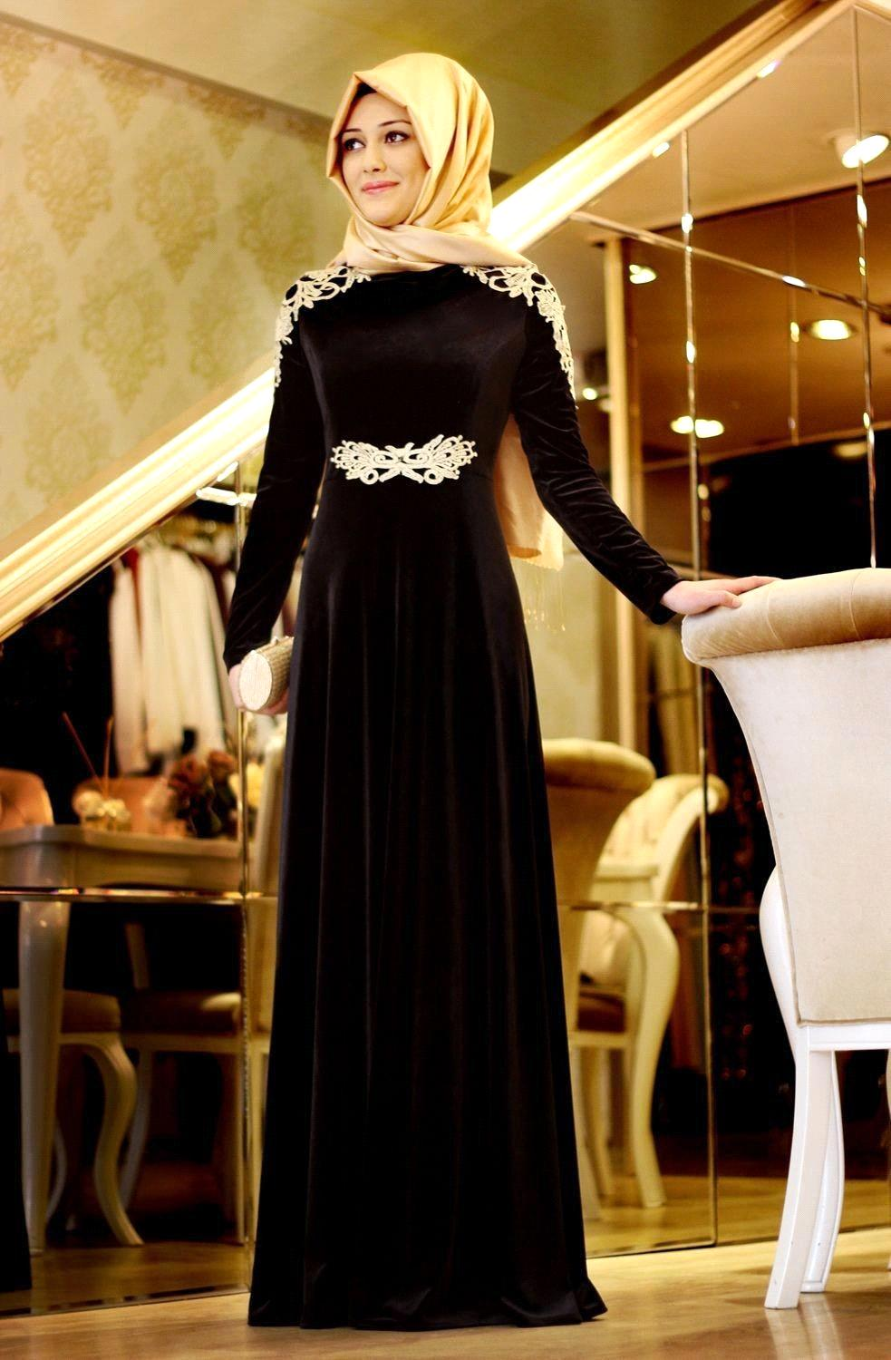 Long Sleeve Muslim Evening Dresses vestido de festa 2015 Gold Appliques Velvet Dubai font b hijab