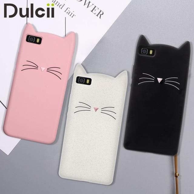 DULCII for Huawei P8 Lite Case Silicone Cute 3D Cat Mobile Phone Case for Huawei P8 Lite Cover