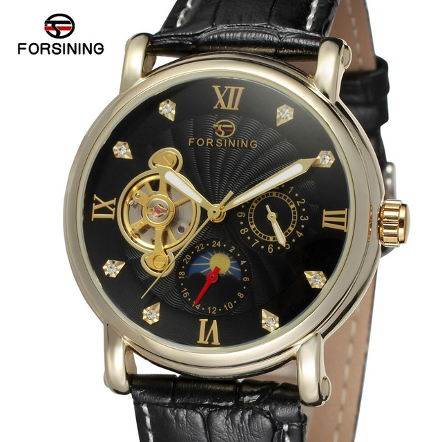 Forsining Automatic Men Watch mechanical Men's Classic Wristwatches Luxury Brand Mechanical Leather Strap Watch