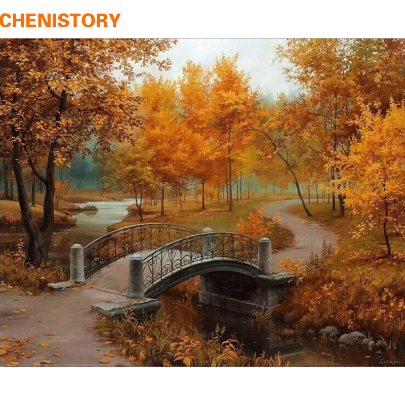 Chenistory autunno paesaggio diy pittura by numbers kit disegno pittura by numbers acrilico vernice su tela per camera opere d'arte