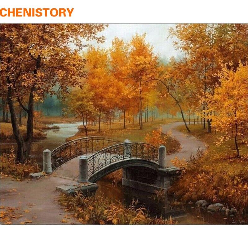 Chenistory herbst landschaft diy malerei by zahlen kits zeichnung malerei by numbers acryl malen auf leinwand für zimmer kunstwerk