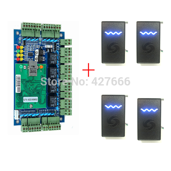 Wiegand Access Control System 4 Doors One Way Access Control Panel + 4PCS 125Khz RFID Card Reader