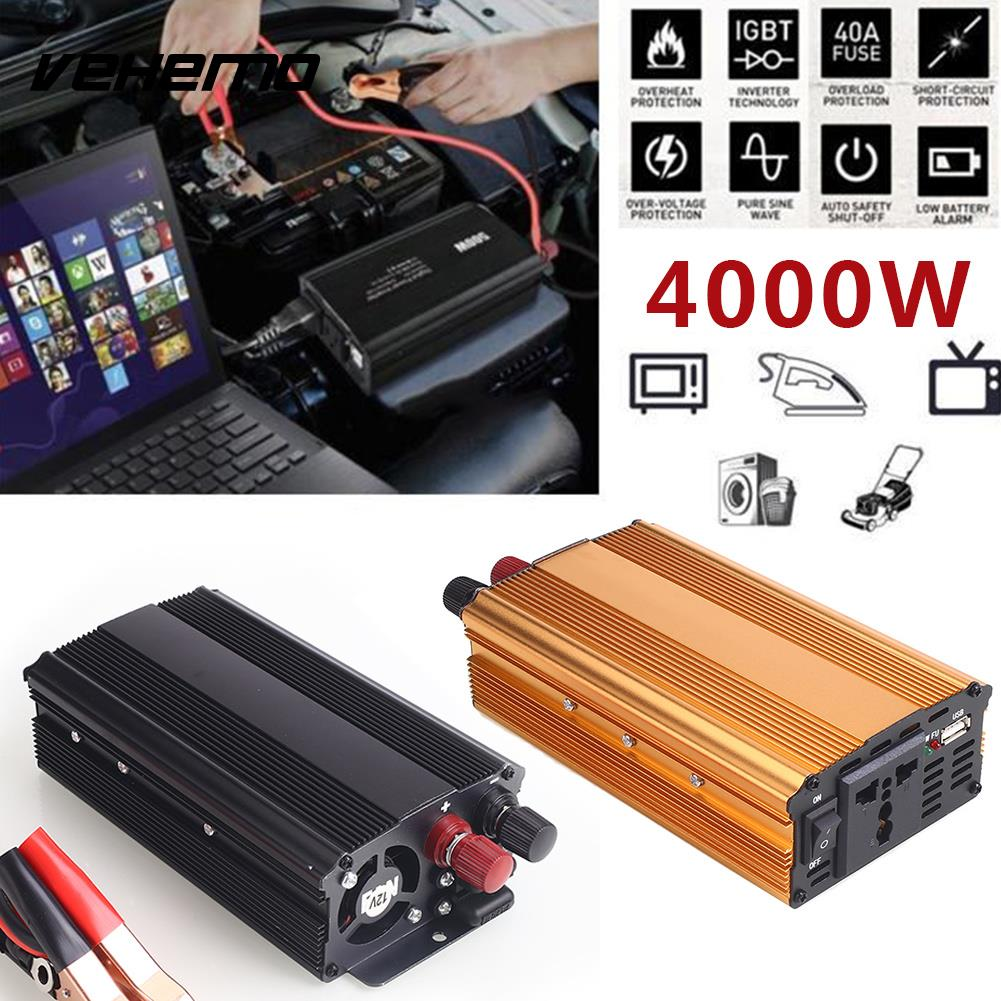 цена Vehemo 4000W DC12V To AC220V Converter Truck Car Power Inverter Car Inverter Premium Stable Automobile USB