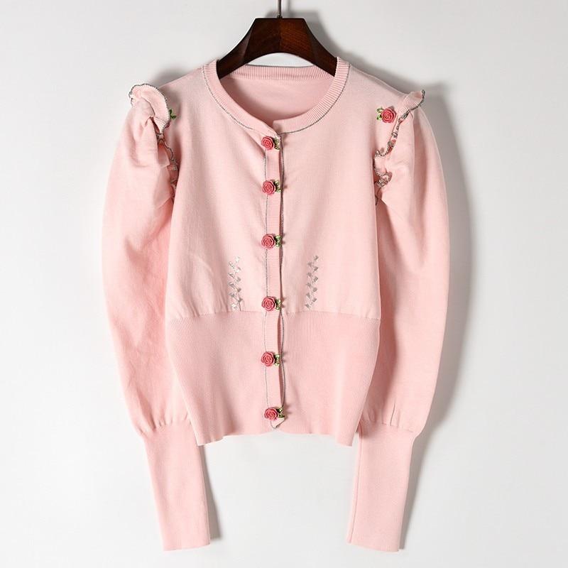 Printemps Rose Tricot De Mode Pink Ruches Cardigan Boutons Mince Bouffantes Tricots Manches Doux Flux Femmes Long Chandails Nouvelles UHO7fqSS