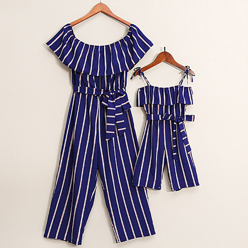 Striped Matching Mother Daughter Dresses One-Piece Overall Pants Family Look Mommy And Me Clothes Mom Mum And Baby Dress Outfits