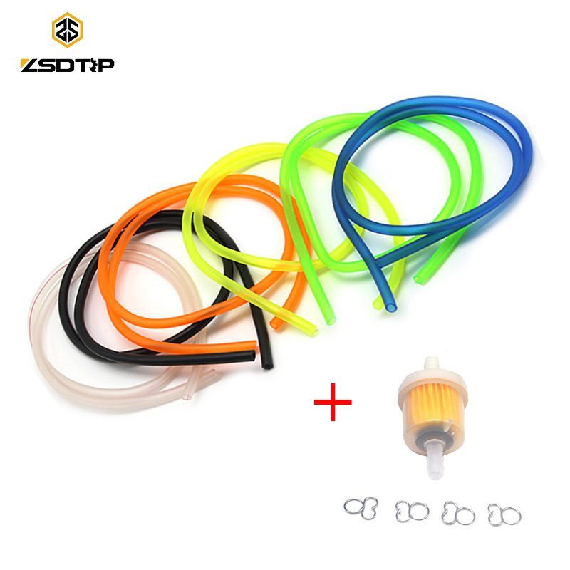 ZSDTRP 1M Motorcycle Gas Fuel Filter Petrol Pipe Hose Line + 4 Clips Moto Scooter Dirt Bike Yellow Red Blue Green White