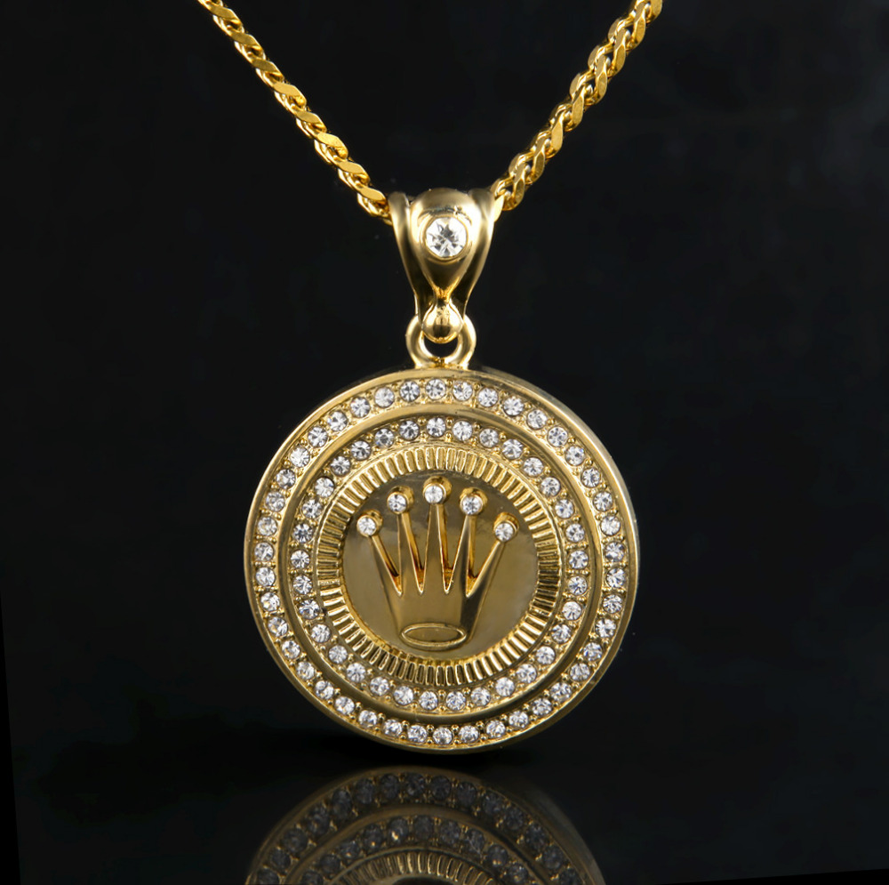 Hip Hop 24k Gold Plated King Crown Pendant Iced Out Round Bling Crystal  Pendant Necklace Long Cuban Chain For Unisex Jewelry
