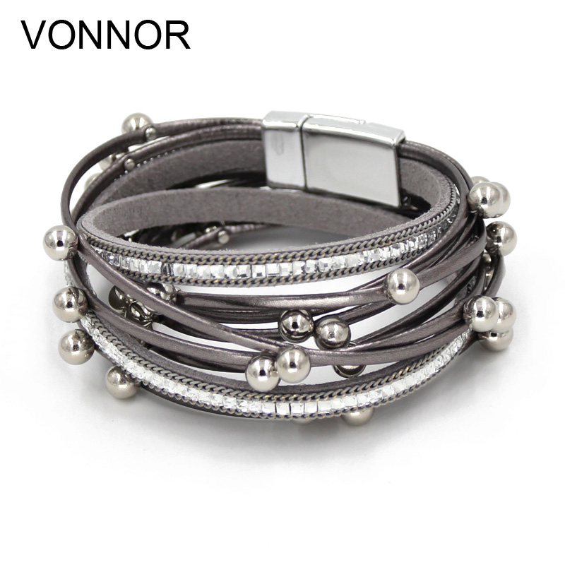 VONNOR Jewelry Bracelets for Women Multi-layer Leather Rope with imitation Pearl Winding Bangles Dropshipping