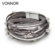 купить VONNOR Jewelry Bracelets for Women Multi-layer Leather Rope with imitation Pearl Winding Bracelets Bangles Dropshipping дешево