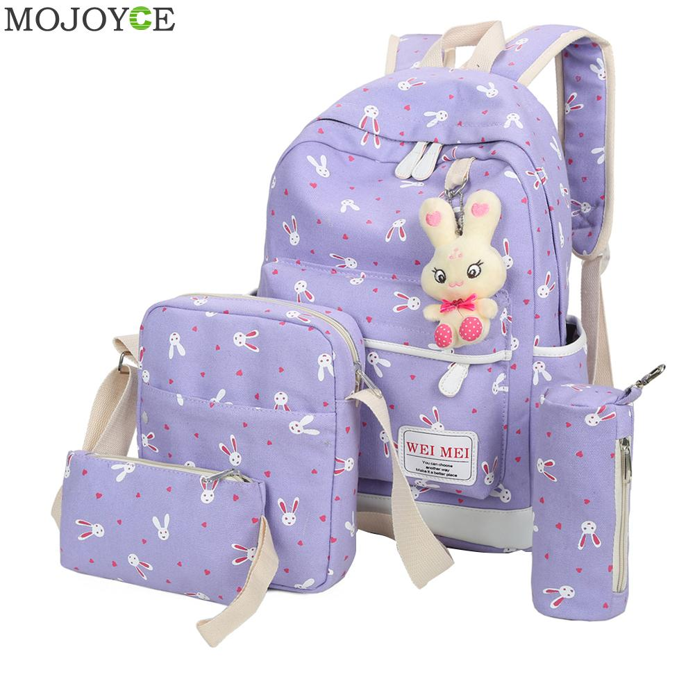 4 Pcs/Set Backpacks Korean Women Backpack Canvas Printing Preppy Style School Bag for Teenage Girls Backpack mochila Escolar