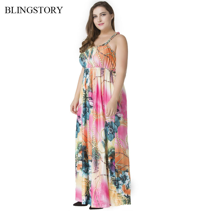 2438c03c326b4 BLINGSTORY Europe And America Spaghetti Straps Beach Holiday Oversize  Dresses Women Floral Bohemian Summer Dress L-7XL CM5027