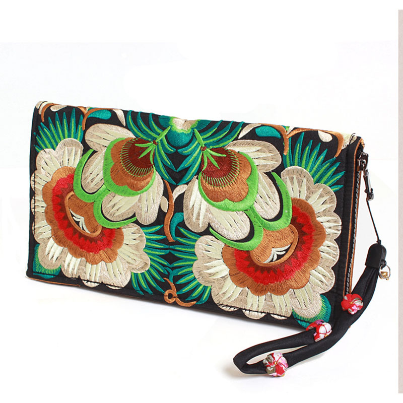 XIYUAN BRAND chinese luxury and fashion green floral national embroidery satin polyester zipper purses Standard wallet for women xiyuan brand ladies beautiful and high grade imports pu leather national floral embroidery shoulder crossbody bags for women