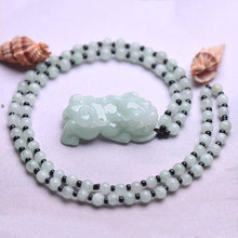 Natural hand-carved Emerald PiXiu necklace men and women jade A-class tyrants Pixiu jade stone Necklace pendant jewelry gift box beautiful natural burmese stone pendant guanyin bodhisattva gift a jewelry box for necklace 1