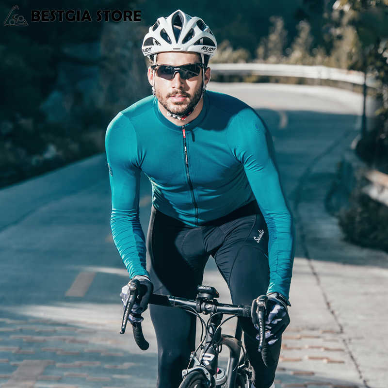 Santic Autumn Winter Pro Cycling Jerseys MTB Downhill Breathable Long Sleeve  Top Jersey Mountain Bike Clothing 44a89723d