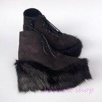 Princess sweet punk shoes loliloli yoyo Japanese design custom black flock lace up fox skin fur wedges short boots 4174