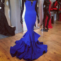 Real Royal Blue Mermaid Long Evening Gowns Simple Cheap Prom Dresses 2018 Sweep Train Vestido Longo