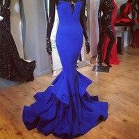 Real Royal Blue Mermaid Long Evening Gowns Simple Cheap Prom Dresses 2018 Sweep Train Vestido Longo de Festa Sweetheart Courte