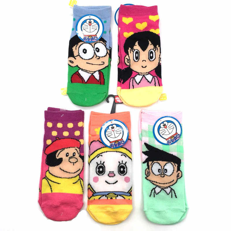 Liviixuan 1Pair Comfortable Doraemon Cotton Socks Cartoon Summer Autumn Short Socks for Women Girls Breathable Sports Ankle Sock