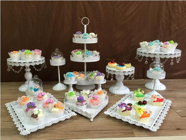 12pcs/set white cake stands wedding cupcake stand cake barware ...