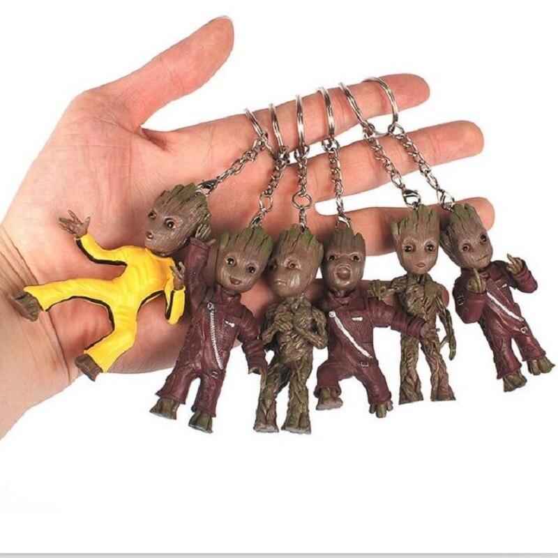 Tree Men Movie Grootted Doll Phoneholder Grunt Guardians of Galaxy Vol 2 Man Figuras Brinquedos Keychain Key Bag Pendants Dolls
