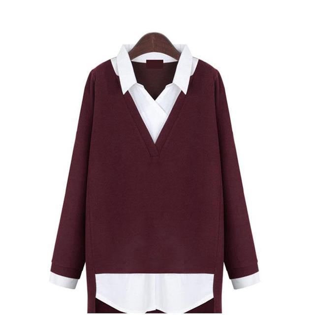 Plus Size 5XL Women Clothing New Fake Two Piece Blouses Women 2017 Spring Autumn Women Shirt Femme Dark Grey Wine Red