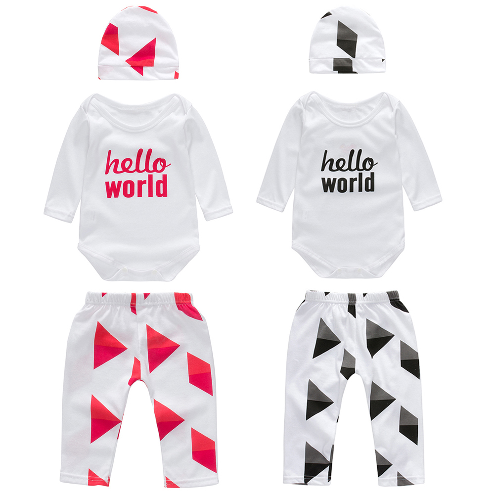 3pcs Baby Clothes Set Baby Boys Girls Cotton Letter Print Tops Rompers Hat Pants Leggings Outfit Child Clothing Set AO#P