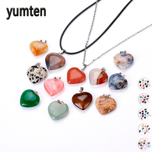 Yumten kobiety mały wisiorek z kryształami i naturalnymi kamieniami Charms kamień mężczyźni oświadczenie naszyjnik gwiazda biżuteria damska Choker Punk wiele