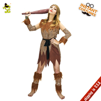 QLQ 2018 kobiet Indian Cosplay Kostium Leopard Flintstone Afryki Tribal Odzież Savage Caveman Hunter Kostiumy Halloween
