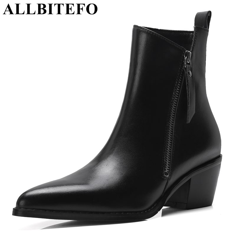 allbitefo brand genuine leather super high heel ankle women boots fashion sexy ladies girls martin boots motocycle boots shoes ALLBITEFO brand soft genuine leather women ankle boots pointed toe fashion sexy girls martin boots Autumn winter motocycle boots
