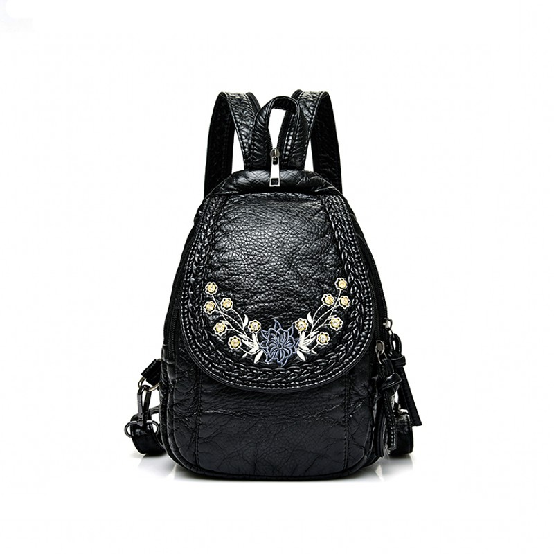 Lady Sweet Soft Washed Leather Backpack Fresh Cute Embroidery Crossbody Bag High Quality Chest Package Fashion Travel Bag