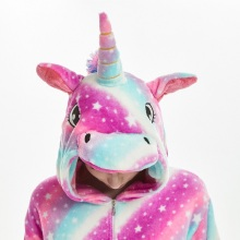 Women's Striped Hooded Unicorn Pajama