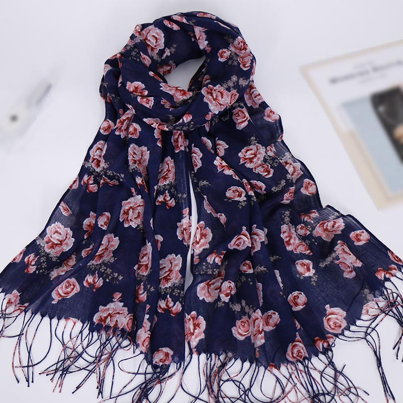 Hijab tassels floral hijab scarf printe cotton shawls muslim hijab trubans viscose wraps fashion Islamic scarves