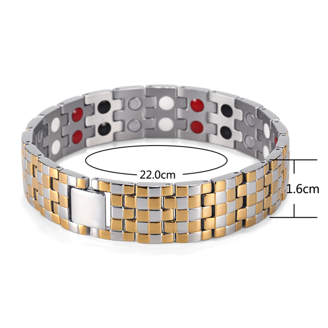 Мужские магнитные золотые браслеты welmag трендовые терапевтические