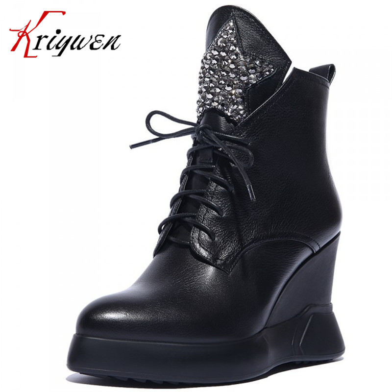 2016 autumn new fashion women western ankle boots glitter style wedges genuine leather boots lace-up high heels martin boots 2016 autumn new arrival thick heels ankle martin boots fashion rivets skull genuine leather lace up punk high heels shoes women