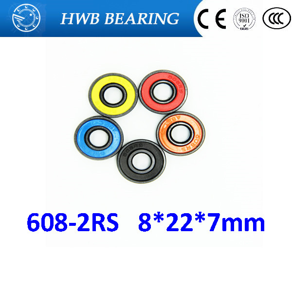 Free Shipping 10 PCS 608-2RS Skateboard Bearings 8x22x7 Radial Ball Bearings 608RS  roller skate inline for 608 hand spinner free shipping 608rs 608 2rs 608 bearing abec 9 8 22 7 mm 8x22x7 mm skateboard ball bearings emq z3v3 608 2rs 608rs bearing