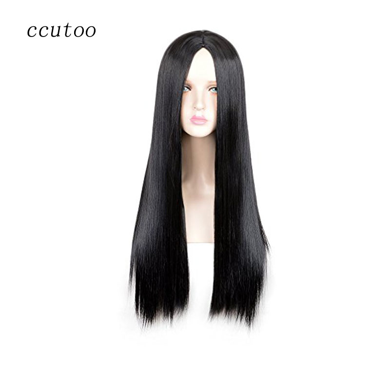 ccutoo Nicki Minaj 32 Black Long Straight Natual Synthetic Hair Middle Parting Styled Cosplay Full Wigs Heat Resistance Fiber