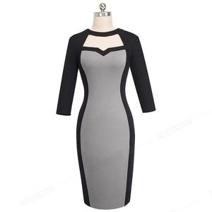 Image 2 - נחמד לנצח בציר ניגודיות צבע טלאים עבודת vestidos הולו מתוך O צוואר המפלגה עסקי Bodycon משרד נשים שמלת B482