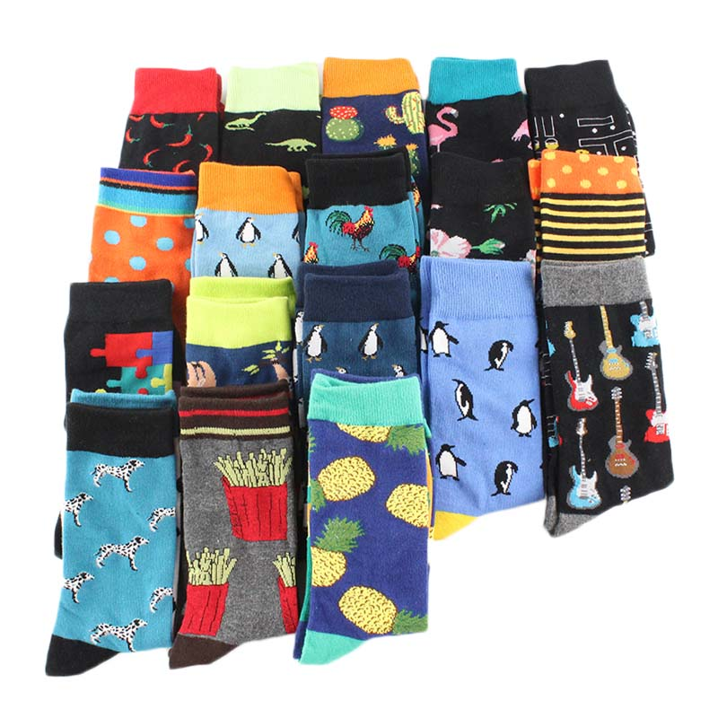 Cool Crew Men Socks Divertidos Funny Street Hip Hop Skateboard Socks Men Harajuku Happy Chaussette Animal Meias Calcetines Homme