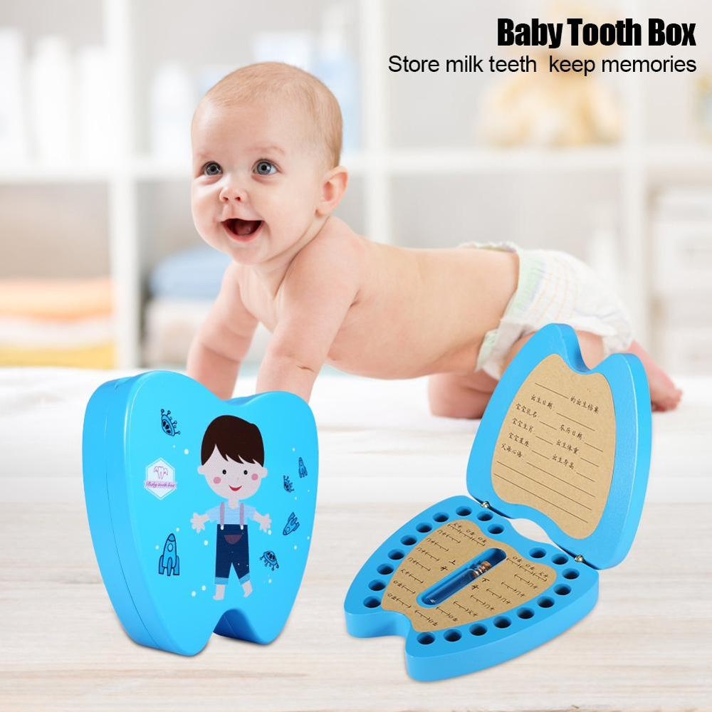 Baby Teeth Box Save Milk Teeth Storage Wooden Box Baby Creative Wooden Tooth Fairy For Children Gifts