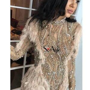 Image 2 - SoAyle Rosa Vestidos de Noite 2018 V Profundo neck Lace Frisada vestido de Festa Sem Mangas Flores Vestidos de Baile Sexy Dividir Longo vestido