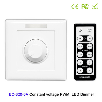 цена на BC 320-6A  LED dimmer knob style PWM constant voltage  LED wall dimmer with remote DC12V-48V led controller For led light