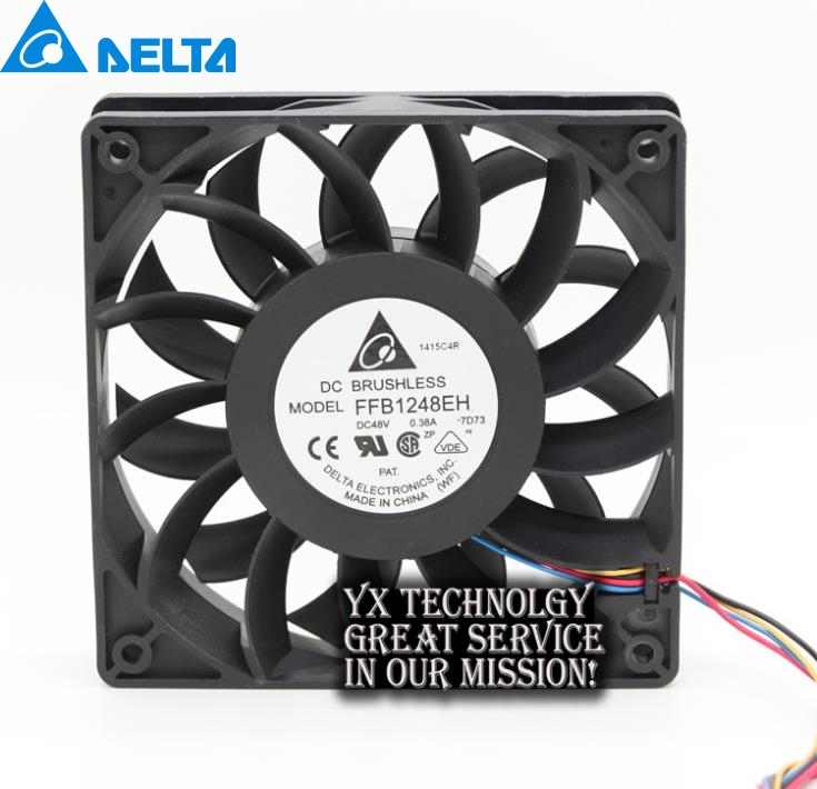 New FFB1248EH 12025 12CM 48V 0.38A four wire PWM fan speed control for DELTA  120*120*25mm delta afb1212hhe 12038 12cm 120 120 38mm 4 line pwm intelligent temperature control 12v 0 7a