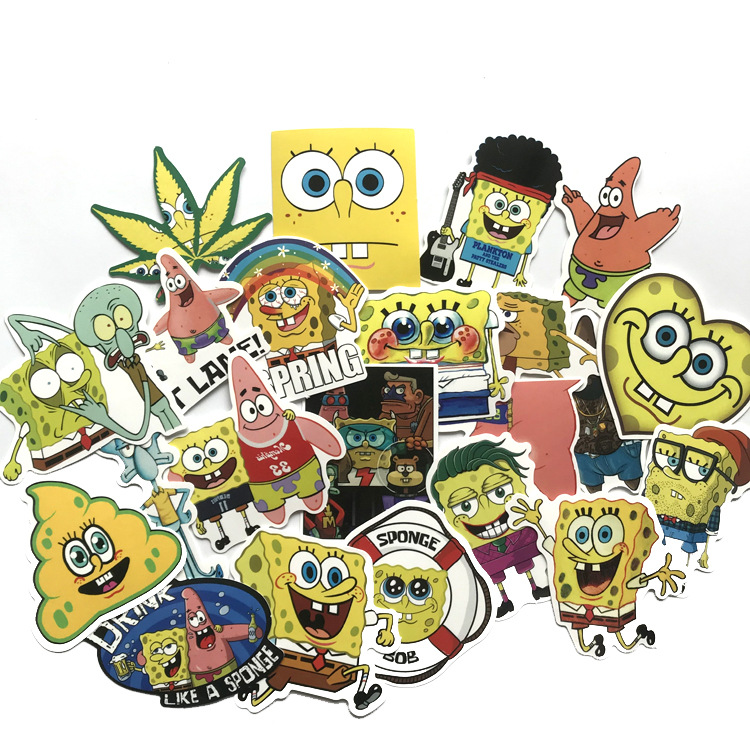 22pcs SquarePants Patrick Star for notebook kids paster fans funny decal scrapbooking diy sticker phone laptop waterproof gifts