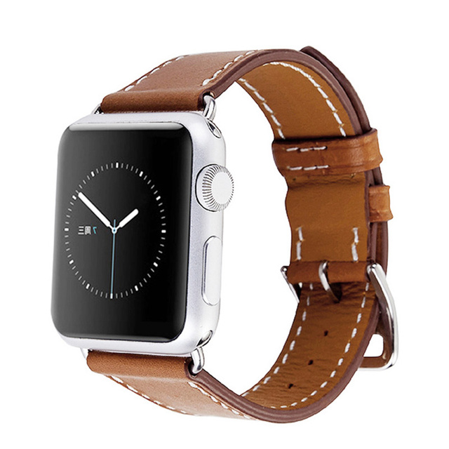 54ab4e752247a1 Series 3 2 1 All versions Genuine Leather Loop For Apple Watch Band Double  Tour 42mm For Apple Watch leather strap 38mm bracelet-in Watchbands from  Watches ...