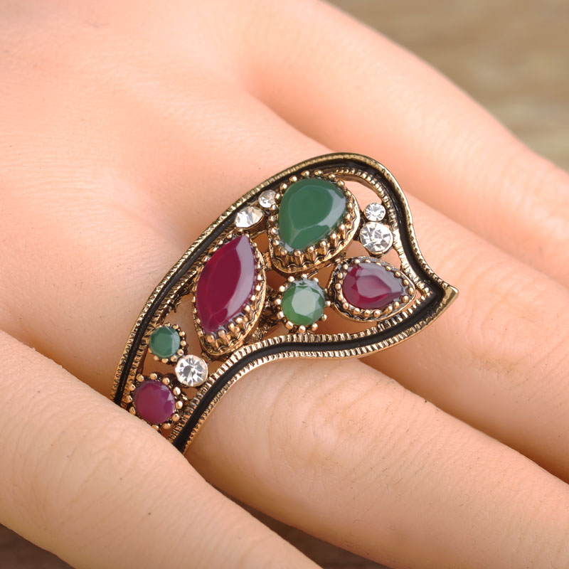 Blucome Vintage Party Rings Women Bridal Turkish Jewelry Antique