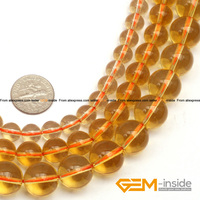Round Genuine Citrine Beads Selectable Size 2mm To 14mm Fashion Jewelry Beads For Women Bracelet Making
