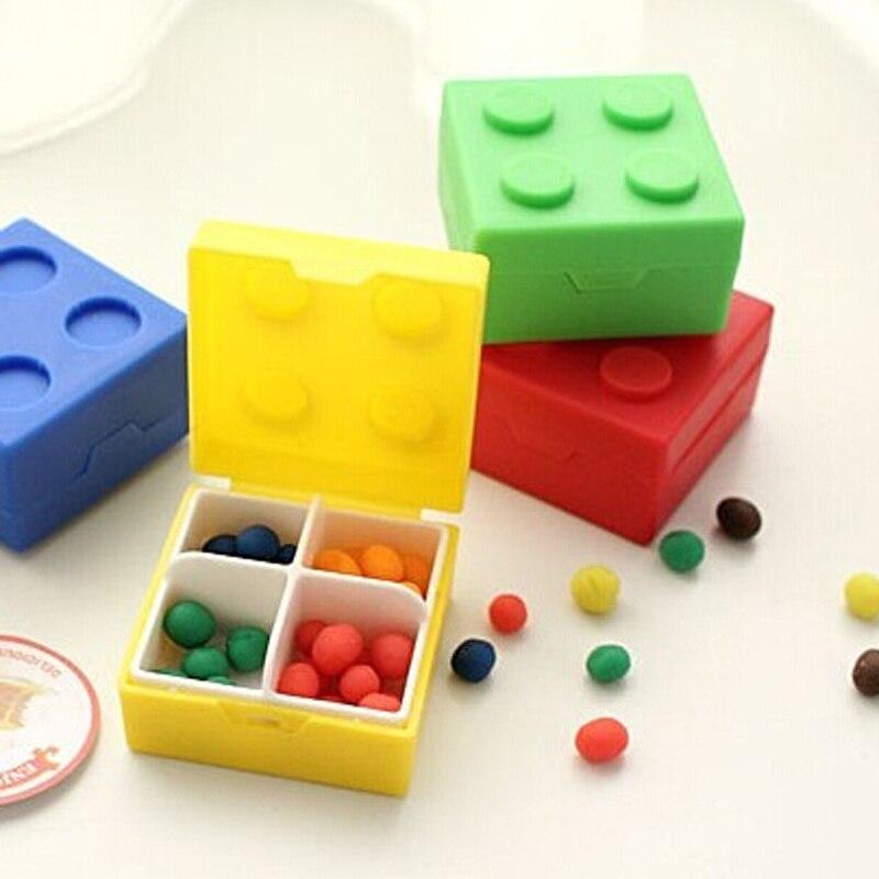Portable Bricks Plastic Vitamin Medicine Pill Storage Box Mini Beads